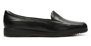 Clarks Georgia Black Leather Womens Shoes